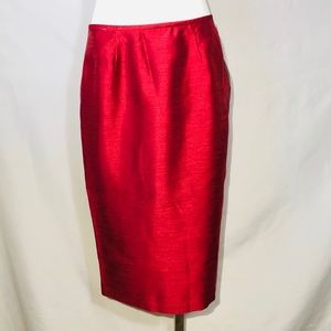 Red pencil skirt by suit studio size 6